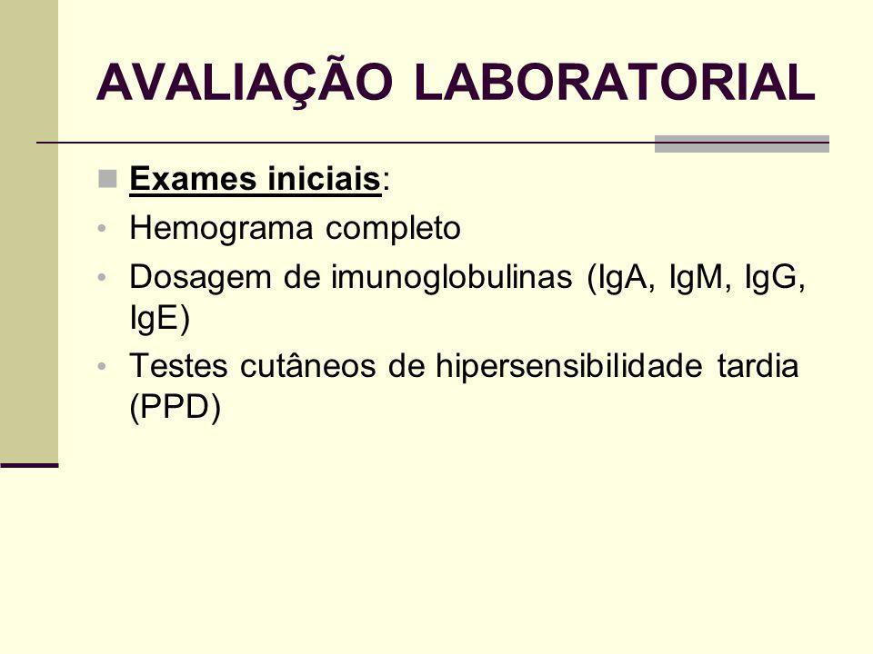 AVALIAÇÃO LABORATORIAL Exames iniciais: Hemograma completo Dosagem de imunoglobulinas (IgA, IgM, IgG, IgE) Testes cutâneos de hipersensibilidade tardi