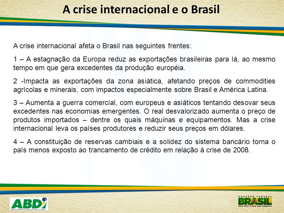A crise internacional e o Brasil A crise internacional afeta o Brasil nas seguintes frentes: 1 – A estagnação da Europa reduz as exportações brasileiras para lá, ao mesmo tempo em que gera excedentes da produção européia.