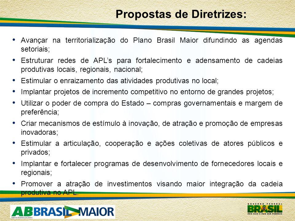 Avançar na territorialização do Plano Brasil Maior difundindo as agendas setoriais; Estruturar redes de APLs para fortalecimento e adensamento de cadeias produtivas locais, regionais, nacional; Estimular o enraizamento das atividades produtivas no local; Implantar projetos de incremento competitivo no entorno de grandes projetos; Utilizar o poder de compra do Estado – compras governamentais e margem de preferência; Criar mecanismos de estímulo à inovação, de atração e promoção de empresas inovadoras; Estimular a articulação, cooperação e ações coletivas de atores públicos e privados; Implantar e fortalecer programas de desenvolvimento de fornecedores locais e regionais; Promover a atração de investimentos visando maior integração da cadeia produtiva no APL.