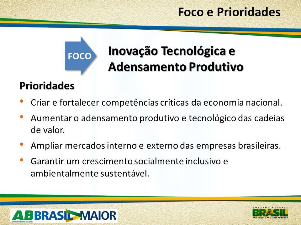 Inovação Tecnológica e Adensamento Produtivo Prioridades Criar e fortalecer competências críticas da economia nacional.