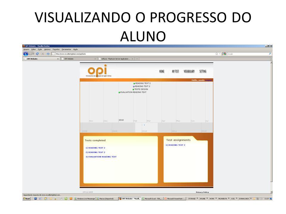 VISUALIZANDO O PROGRESSO DO ALUNO