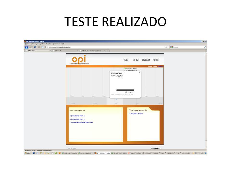 TESTE REALIZADO