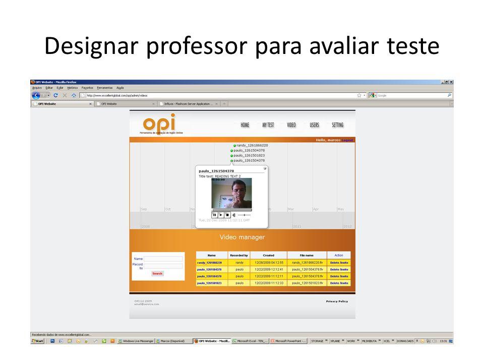 Designar professor para avaliar teste