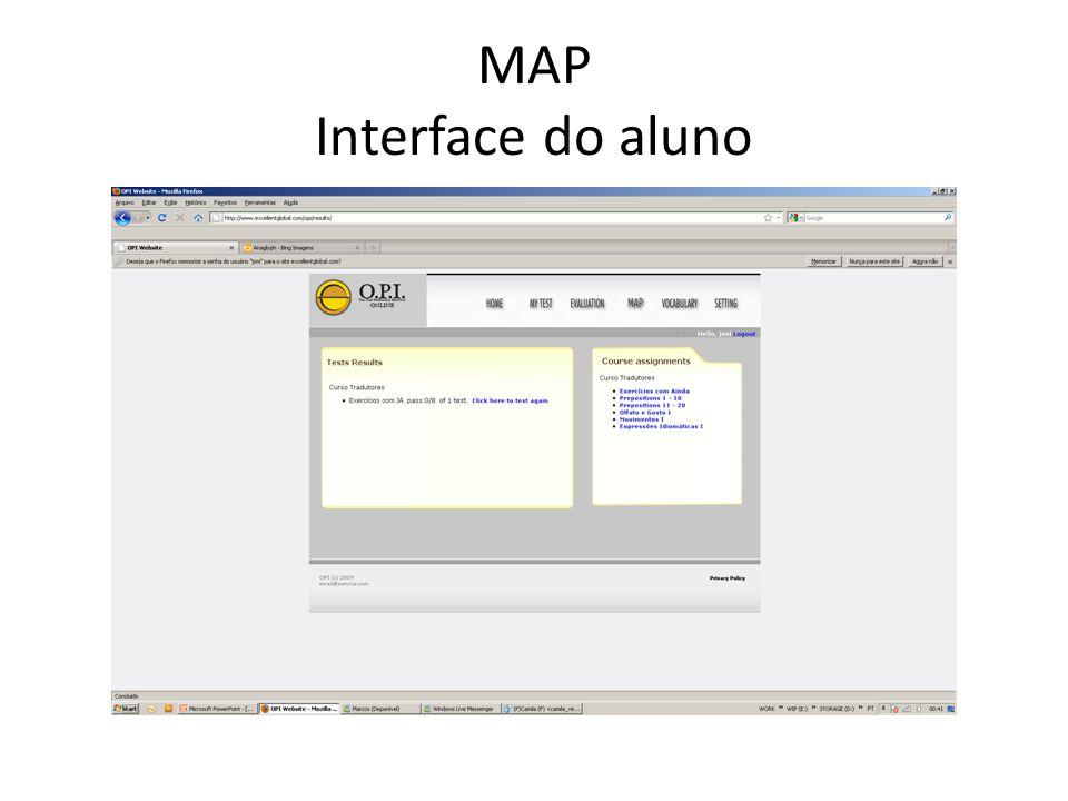MAP Interface do aluno