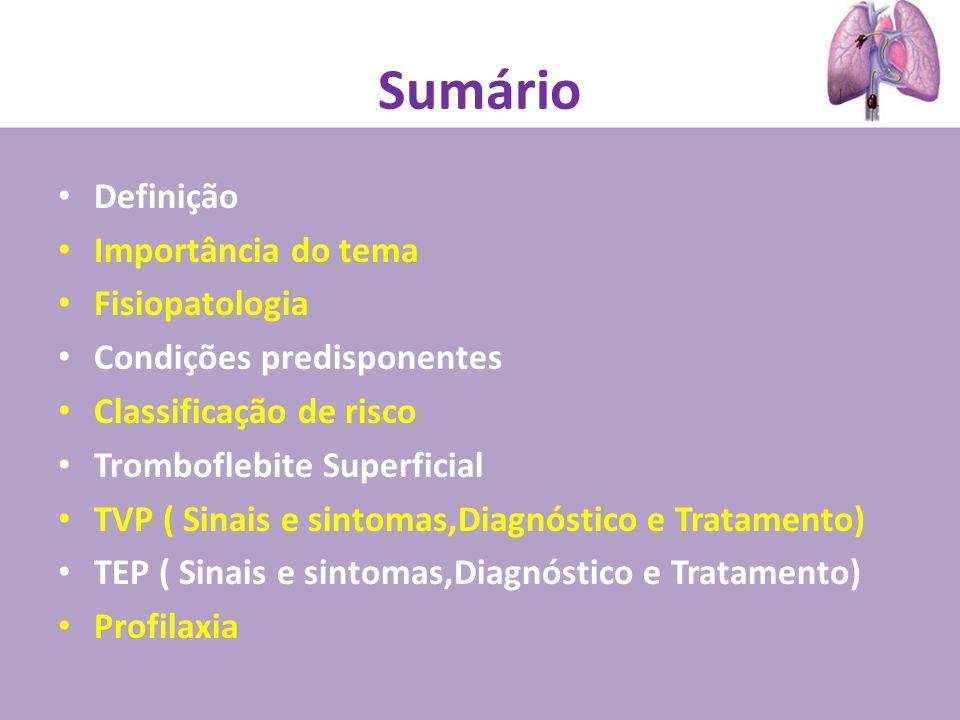 Sumário Definição Importância do tema Fisiopatologia Condições predisponentes Classificação de risco Tromboflebite Superficial TVP ( Sinais e sintomas,Diagnóstico e Tratamento) TEP ( Sinais e sintomas,Diagnóstico e Tratamento) Profilaxia