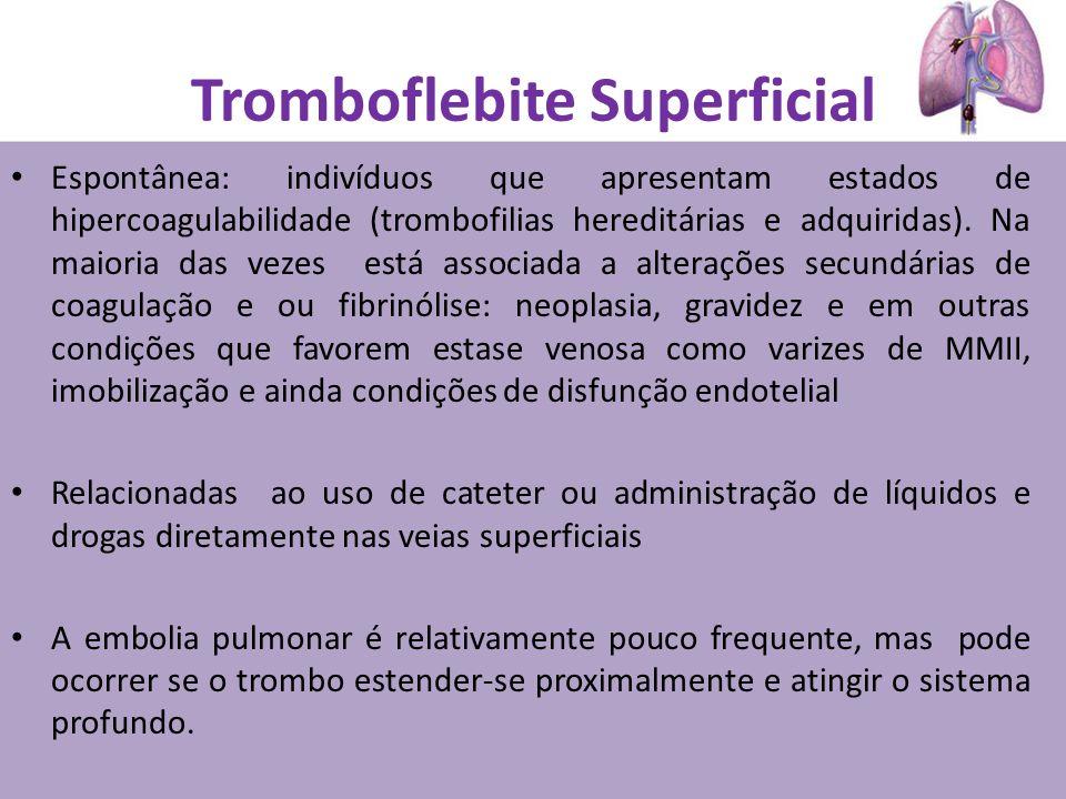 Tromboflebite Superficial Espontânea: indivíduos que apresentam estados de hipercoagulabilidade (trombofilias hereditárias e adquiridas). Na maioria d