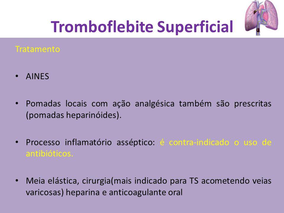 Tratamento AINES Pomadas locais com ação analgésica também são prescritas (pomadas heparinóides). Processo inflamatório asséptico: é contra-indicado o
