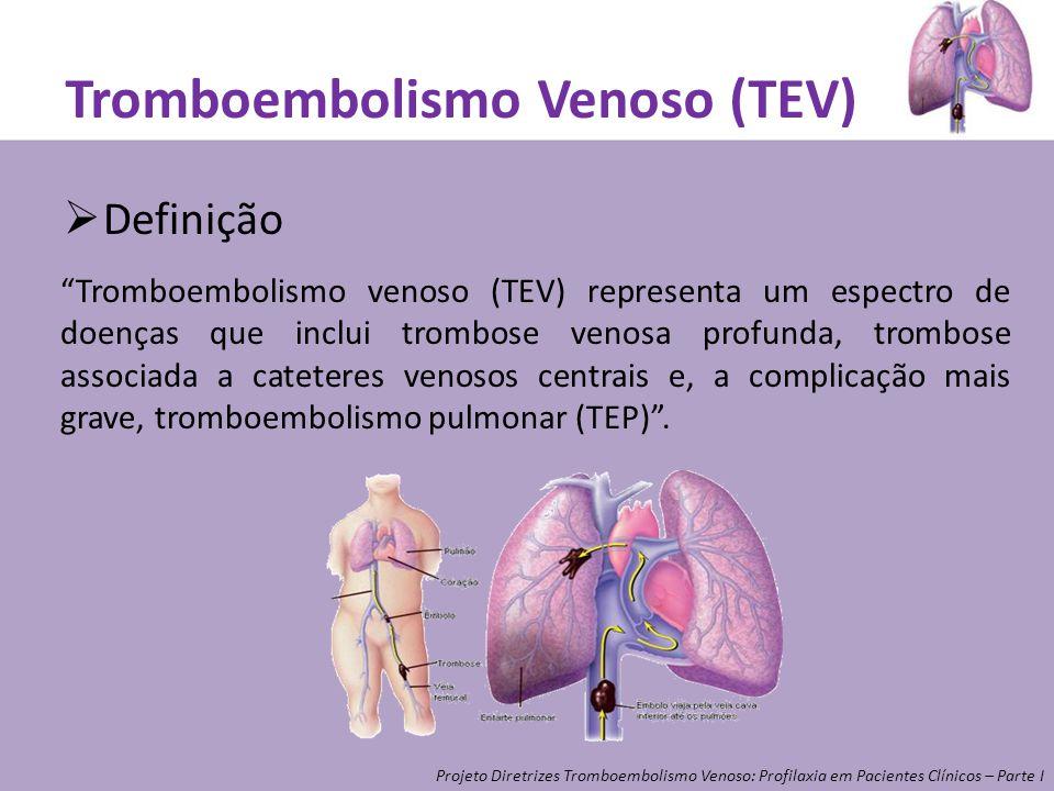 Tromboembolismo Venoso (TEV) Definição Tromboembolismo venoso (TEV) representa um espectro de doenças que inclui trombose venosa profunda, trombose as