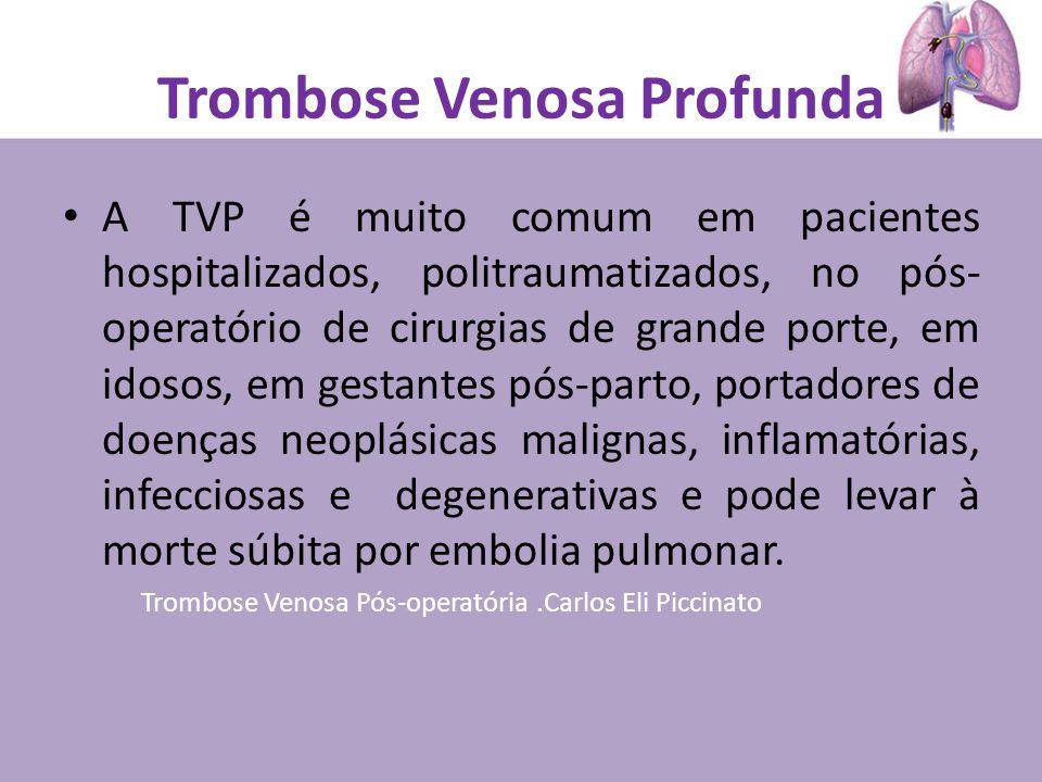 Trombose Venosa Profunda A TVP é muito comum em pacientes hospitalizados, politraumatizados, no pós- operatório de cirurgias de grande porte, em idosos, em gestantes pós-parto, portadores de doenças neoplásicas malignas, inflamatórias, infecciosas e degenerativas e pode levar à morte súbita por embolia pulmonar.