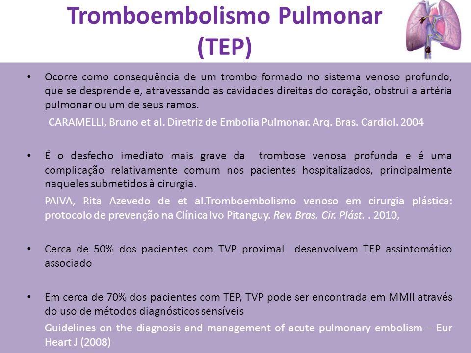 Tromboembolismo Pulmonar (TEP) Ocorre como consequência de um trombo formado no sistema venoso profundo, que se desprende e, atravessando as cavidades direitas do coração, obstrui a artéria pulmonar ou um de seus ramos.