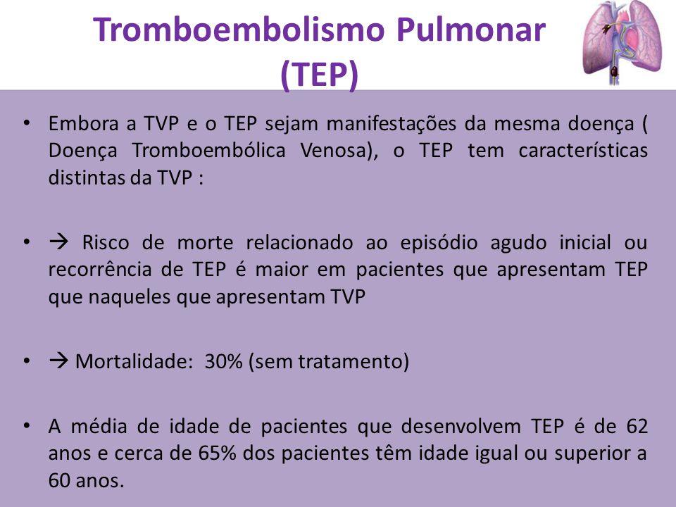 Embora a TVP e o TEP sejam manifestações da mesma doença ( Doença Tromboembólica Venosa), o TEP tem características distintas da TVP : Risco de morte relacionado ao episódio agudo inicial ou recorrência de TEP é maior em pacientes que apresentam TEP que naqueles que apresentam TVP Mortalidade: 30% (sem tratamento) A média de idade de pacientes que desenvolvem TEP é de 62 anos e cerca de 65% dos pacientes têm idade igual ou superior a 60 anos.