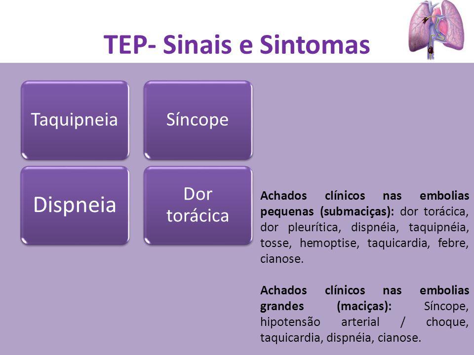 TEP- Sinais e Sintomas Dispneia Taquipneia Dor torácica Síncope Achados clínicos nas embolias pequenas (submaciças): dor torácica, dor pleurítica, dispnéia, taquipnéia, tosse, hemoptise, taquicardia, febre, cianose.