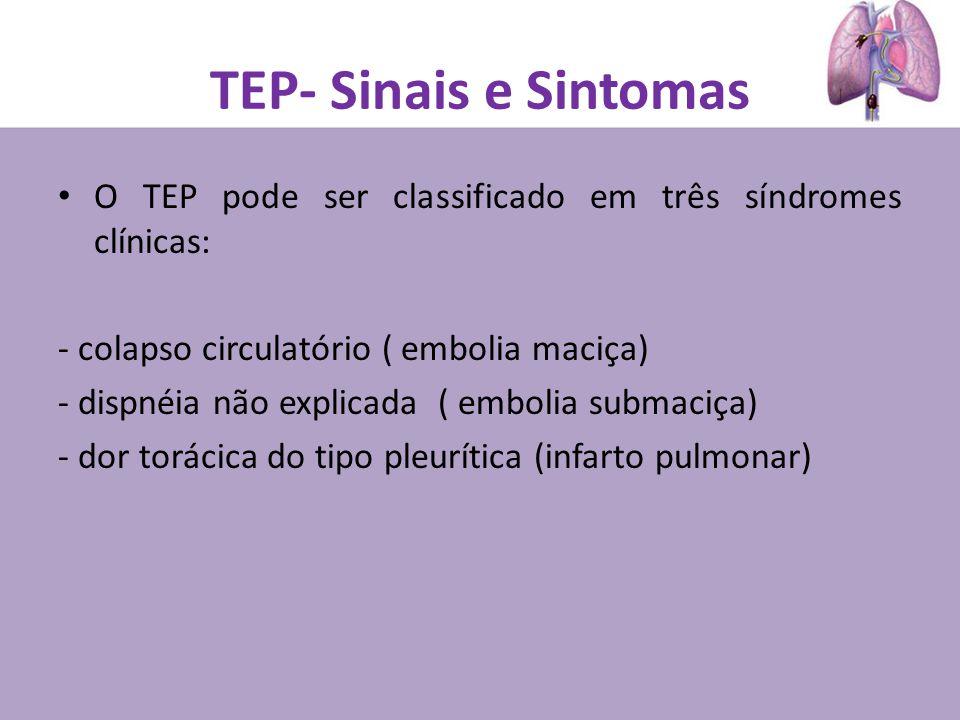 TEP- Sinais e Sintomas O TEP pode ser classificado em três síndromes clínicas: - colapso circulatório ( embolia maciça) - dispnéia não explicada ( embolia submaciça) - dor torácica do tipo pleurítica (infarto pulmonar)