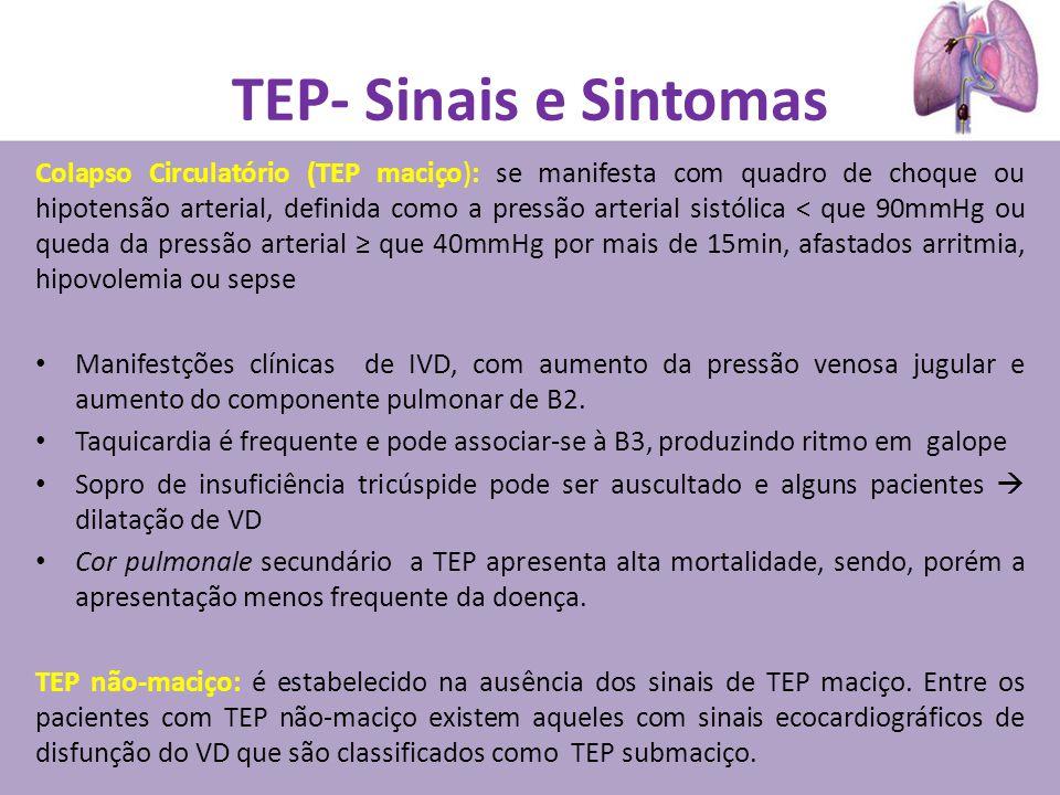 TEP- Sinais e Sintomas Colapso Circulatório (TEP maciço): se manifesta com quadro de choque ou hipotensão arterial, definida como a pressão arterial s