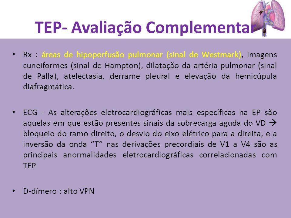 TEP- Avaliação Complementar Rx : áreas de hipoperfusão pulmonar (sinal de Westmark), imagens cuneiformes (sinal de Hampton), dilatação da artéria pulm