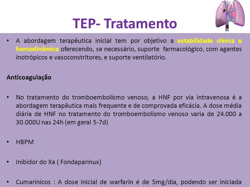 TEP- Tratamento A abordagem terapêutica inicial tem por objetivo a estabilidade clínica e hemodinâmica oferecendo, se necessário, suporte farmacológico, com agentes inotrópicos e vasoconstritores, e suporte ventilatório.