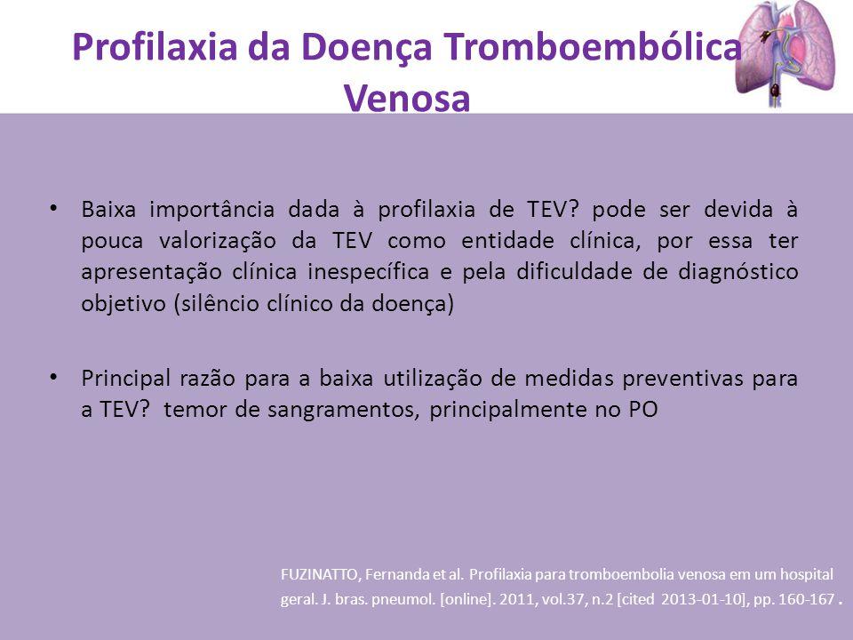 Profilaxia da Doença Tromboembólica Venosa Baixa importância dada à profilaxia de TEV? pode ser devida à pouca valorização da TEV como entidade clínic