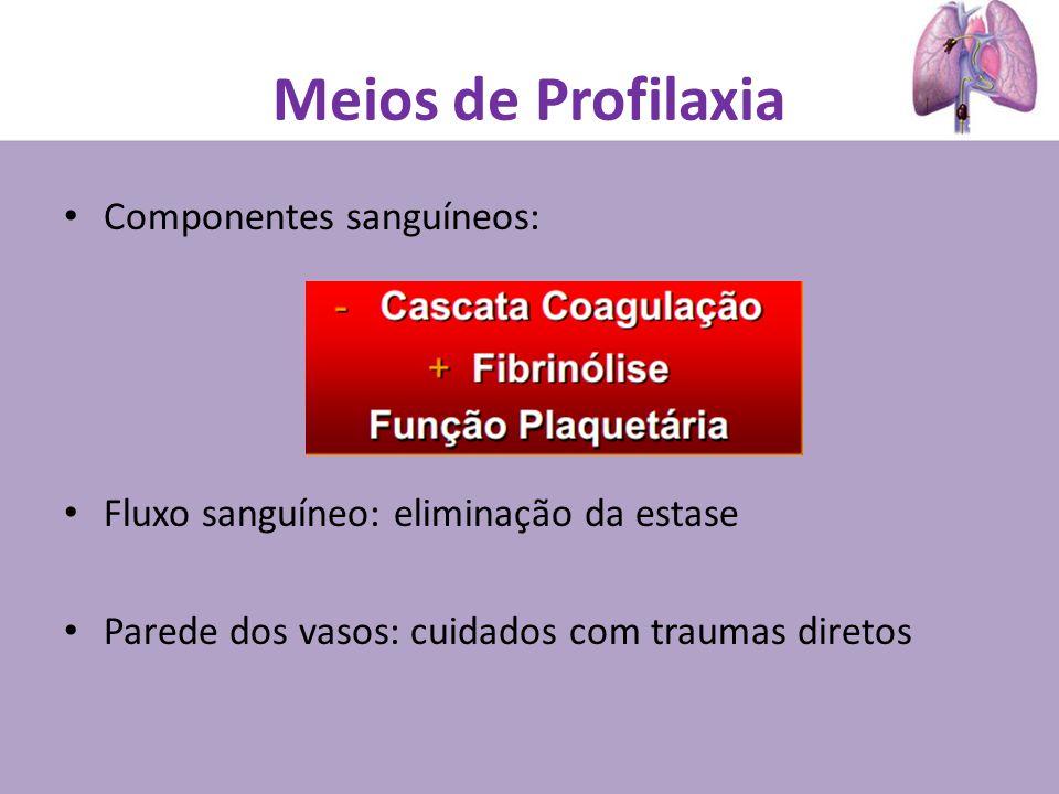 Meios de Profilaxia Componentes sanguíneos: Fluxo sanguíneo: eliminação da estase Parede dos vasos: cuidados com traumas diretos