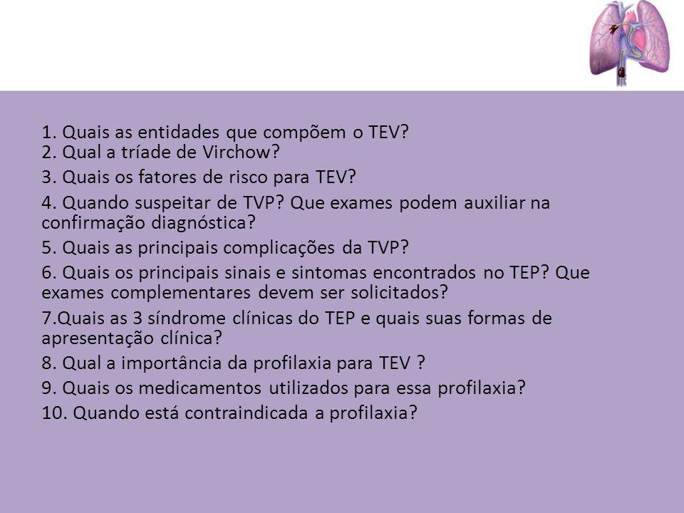 1. Quais as entidades que compõem o TEV? 2. Qual a tríade de Virchow? 3. Quais os fatores de risco para TEV? 4. Quando suspeitar de TVP? Que exames po