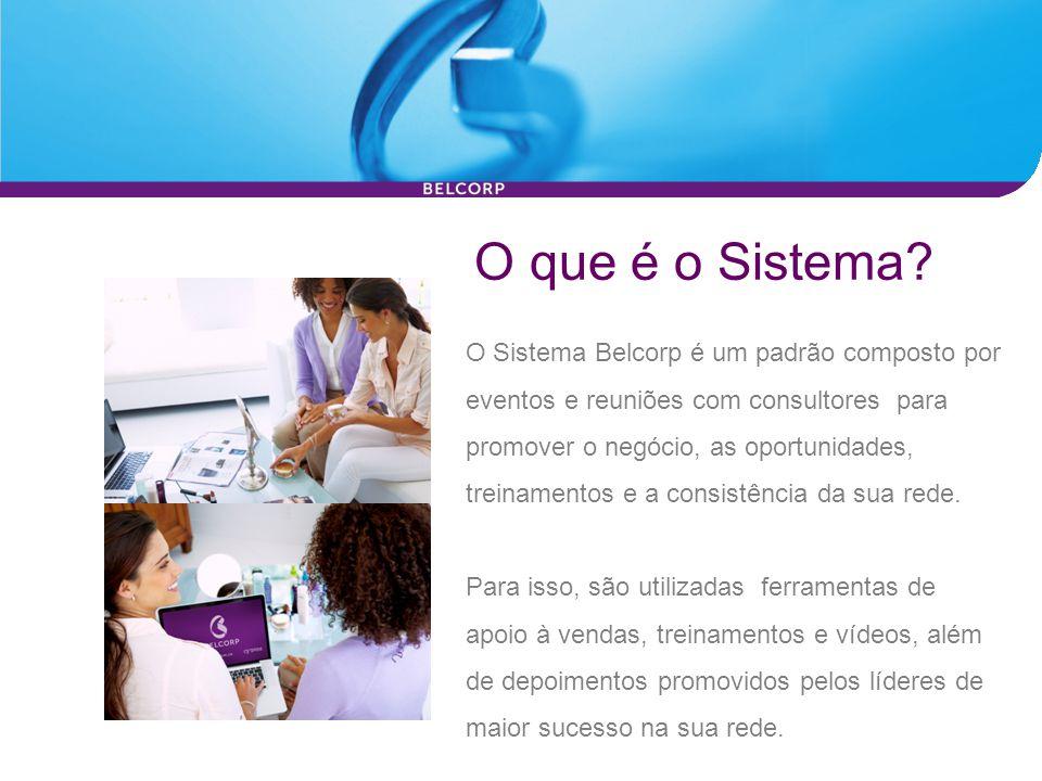 O que é o Sistema? O Sistema Belcorp é um padrão composto por eventos e reuniões com consultores para promover o negócio, as oportunidades, treinament