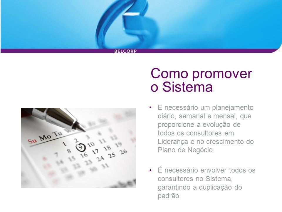Como promover o Sistema É necessário um planejamento diário, semanal e mensal, que proporcione a evolução de todos os consultores em Liderança e no cr