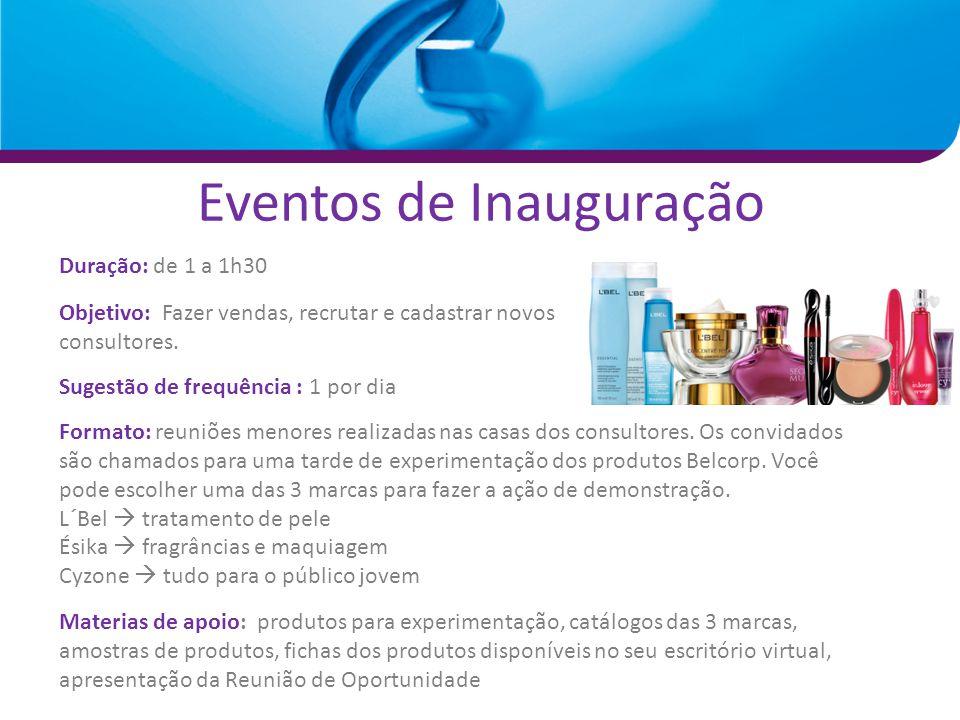 Eventos de Inauguração Duração: de 1 a 1h30 Objetivo: Fazer vendas, recrutar e cadastrar novos consultores. Sugestão de frequência : 1 por dia Formato