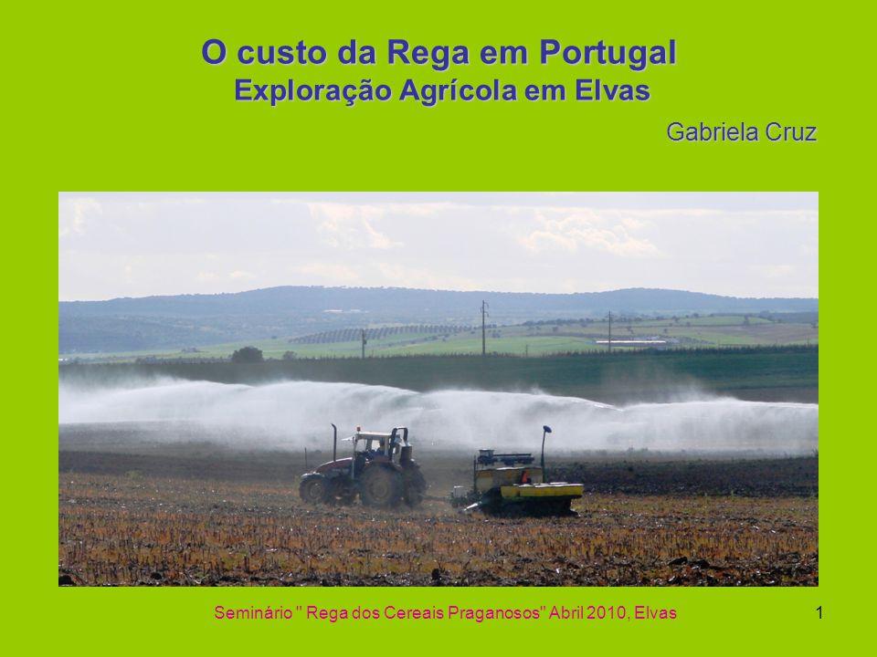 O custo da Rega em Portugal Exploração Agrícola em Elvas Gabriela Cruz Seminário