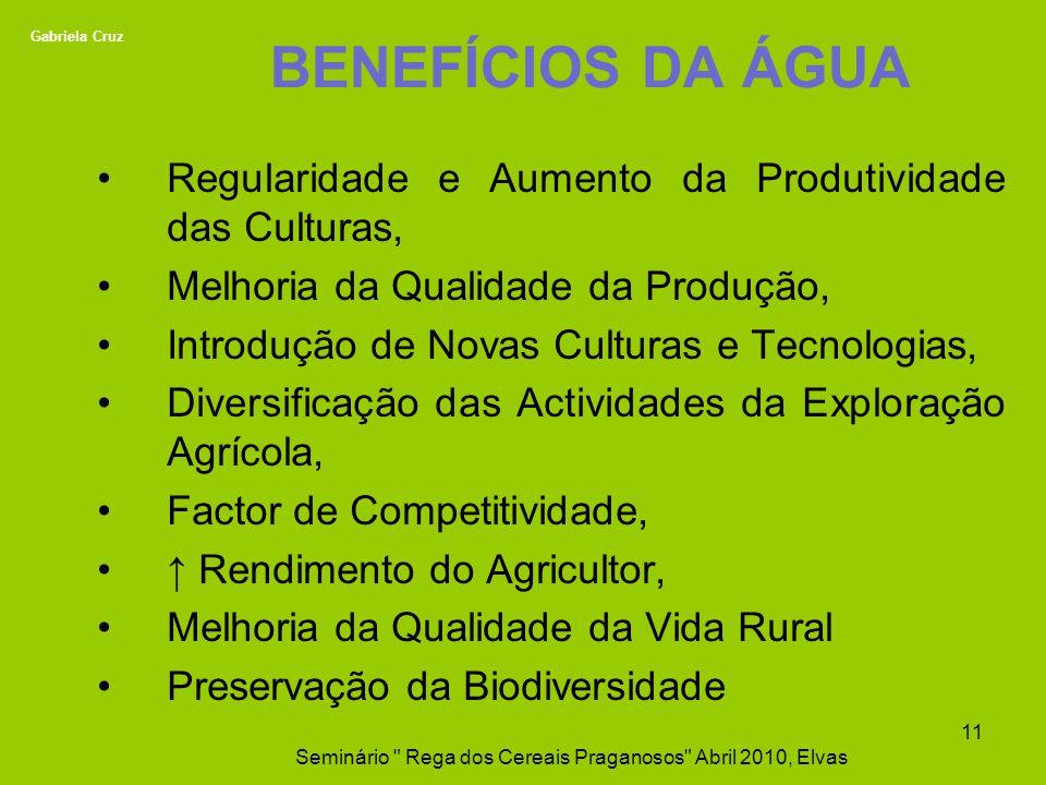 BENEFÍCIOS DA ÁGUA Regularidade e Aumento da Produtividade das Culturas, Melhoria da Qualidade da Produção, Introdução de Novas Culturas e Tecnologias