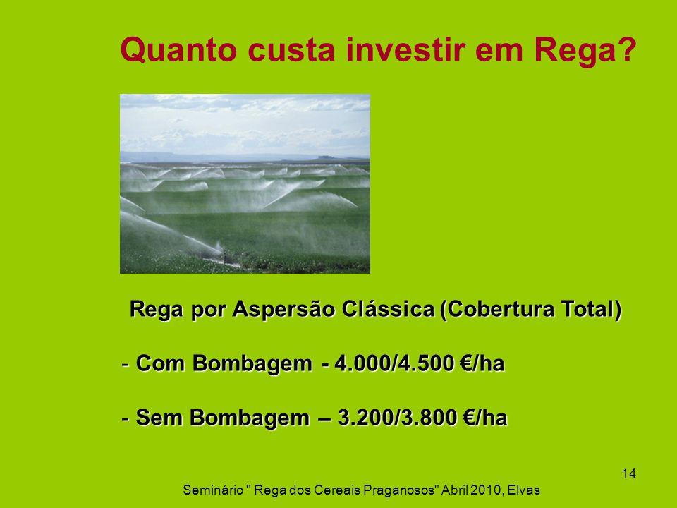 Quanto custa investir em Rega? Rega por Aspersão Clássica (Cobertura Total) - Com Bombagem - 4.000/4.500 /ha - Sem Bombagem – 3.200/3.800 /ha Seminári