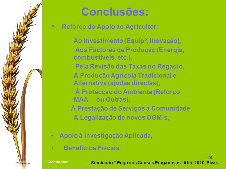 Conclusões: Reforço do Apoio ao Agricultor: Ao Investimento (Equipº, Inovação), Aos Factores de Produção (Energia, combustíveis, etc.). Pela Revisão d