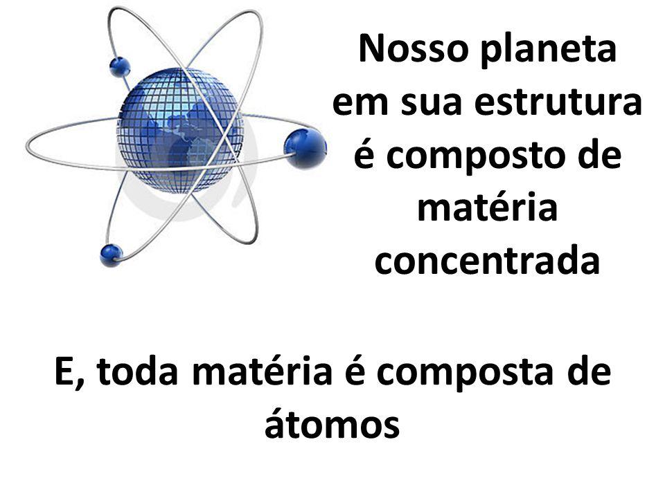 Nosso planeta em sua estrutura é composto de matéria concentrada E, toda matéria é composta de átomos