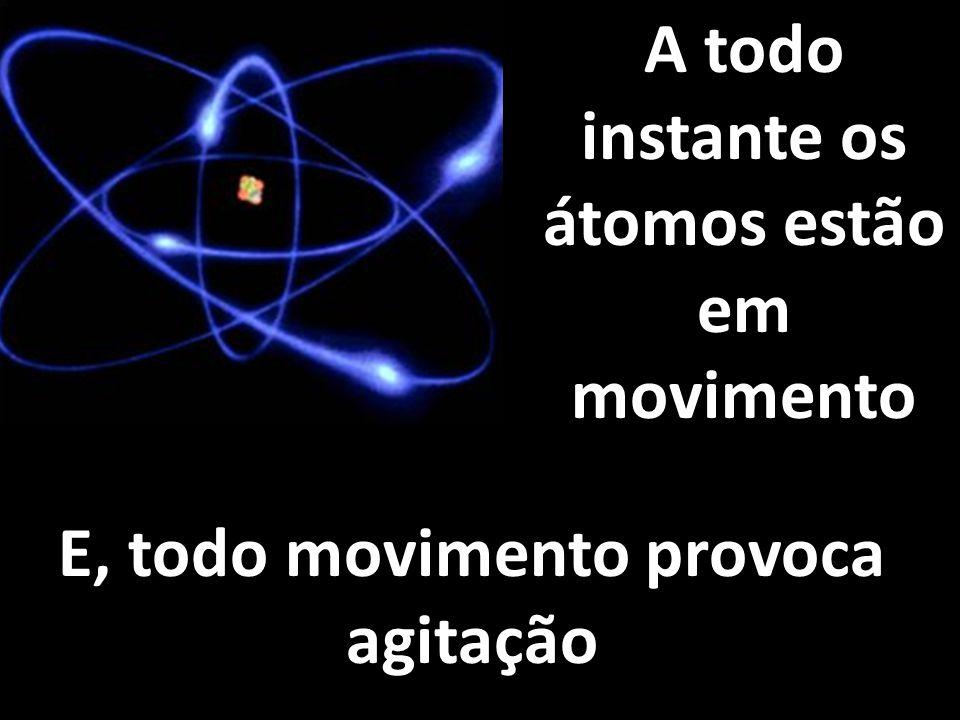 A todo instante os átomos estão em movimento E, todo movimento provoca agitação