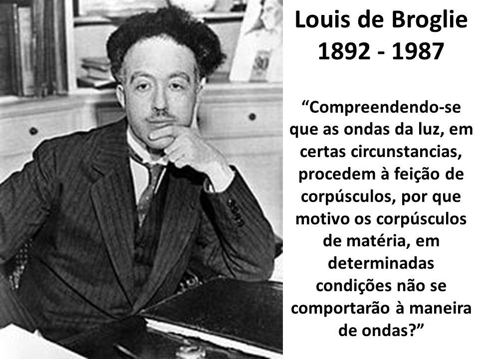 Louis de Broglie 1892 - 1987 Compreendendo-se que as ondas da luz, em certas circunstancias, procedem à feição de corpúsculos, por que motivo os corpúsculos de matéria, em determinadas condições não se comportarão à maneira de ondas?