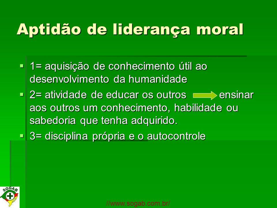 Aptidão de liderança moral 1= aquisição de conhecimento útil ao desenvolvimento da humanidade 1= aquisição de conhecimento útil ao desenvolvimento da