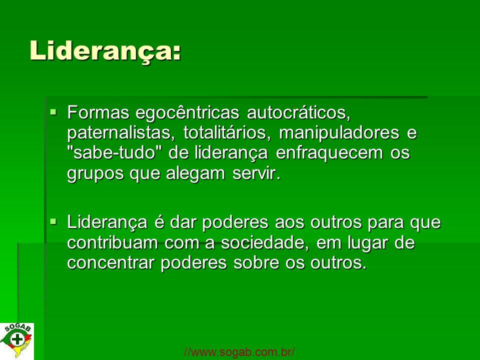 Liderança: Formas egocêntricas autocráticos, paternalistas, totalitários, manipuladores e