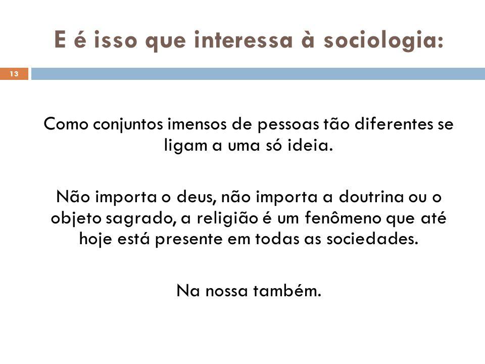 E é isso que interessa à sociologia: 13 Como conjuntos imensos de pessoas tão diferentes se ligam a uma só ideia.