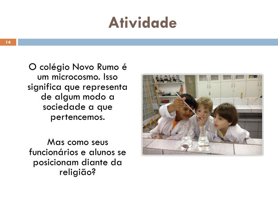 Atividade O colégio Novo Rumo é um microcosmo. Isso significa que representa de algum modo a sociedade a que pertencemos. Mas como seus funcionários e