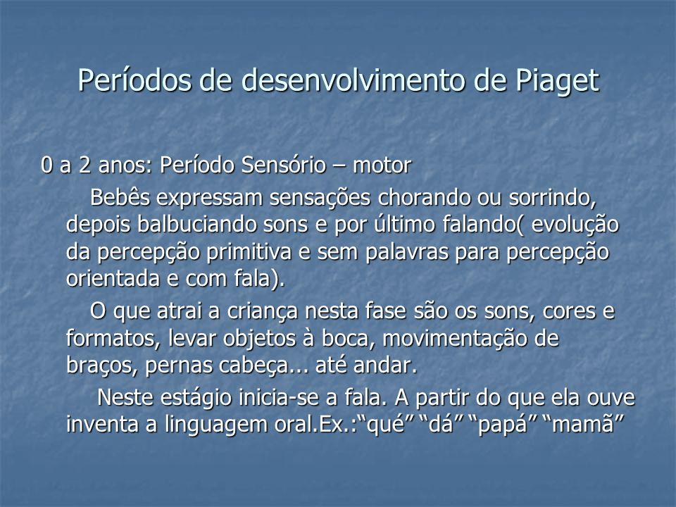 Períodos de desenvolvimento de Piaget 0 a 2 anos: Período Sensório – motor Bebês expressam sensações chorando ou sorrindo, depois balbuciando sons e p