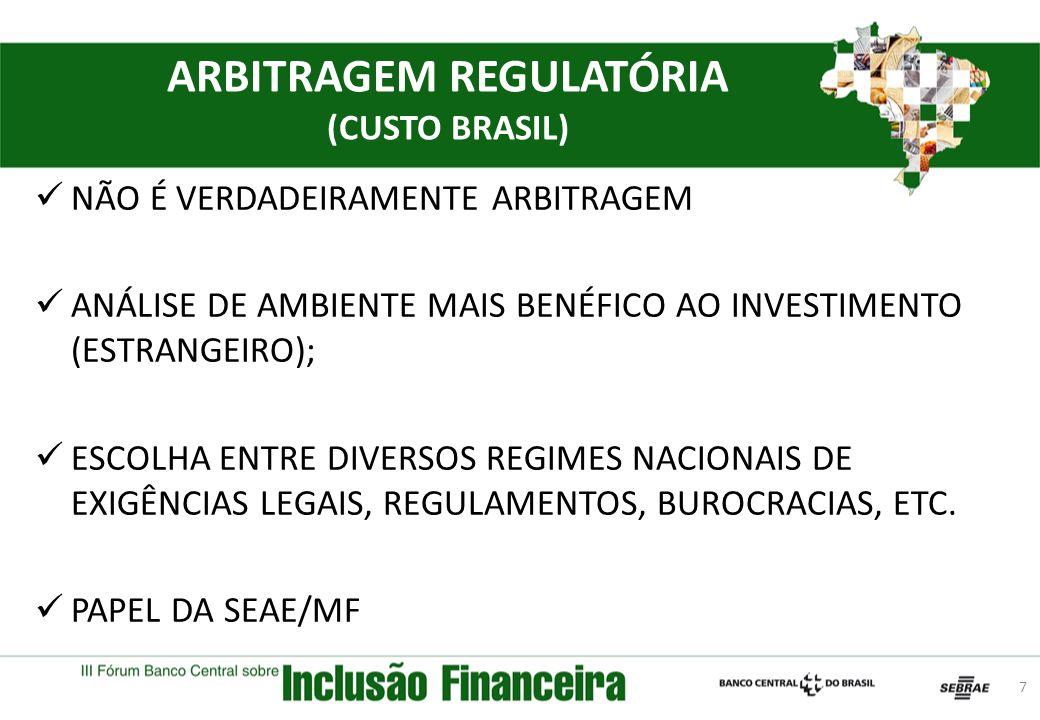 ARBITRAGEM REGULATÓRIA (CUSTO BRASIL) NÃO É VERDADEIRAMENTE ARBITRAGEM ANÁLISE DE AMBIENTE MAIS BENÉFICO AO INVESTIMENTO (ESTRANGEIRO); ESCOLHA ENTRE