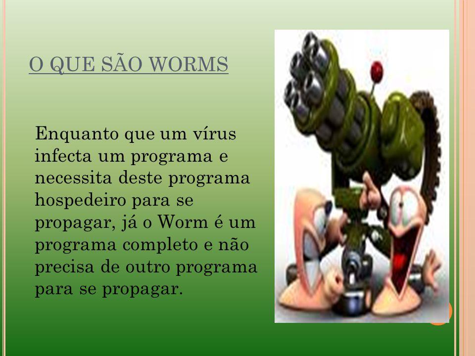 O QUE SÃO WORMS Enquanto que um vírus infecta um programa e necessita deste programa hospedeiro para se propagar, já o Worm é um programa completo e n