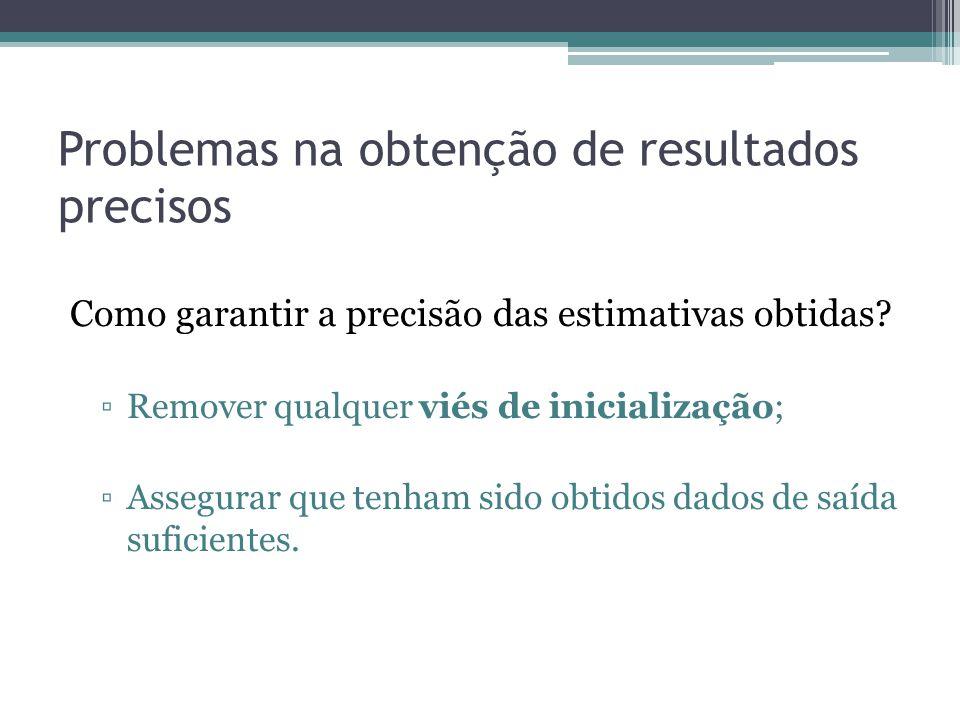 Problemas na obtenção de resultados precisos Como garantir a precisão das estimativas obtidas? Remover qualquer viés de inicialização; Assegurar que t