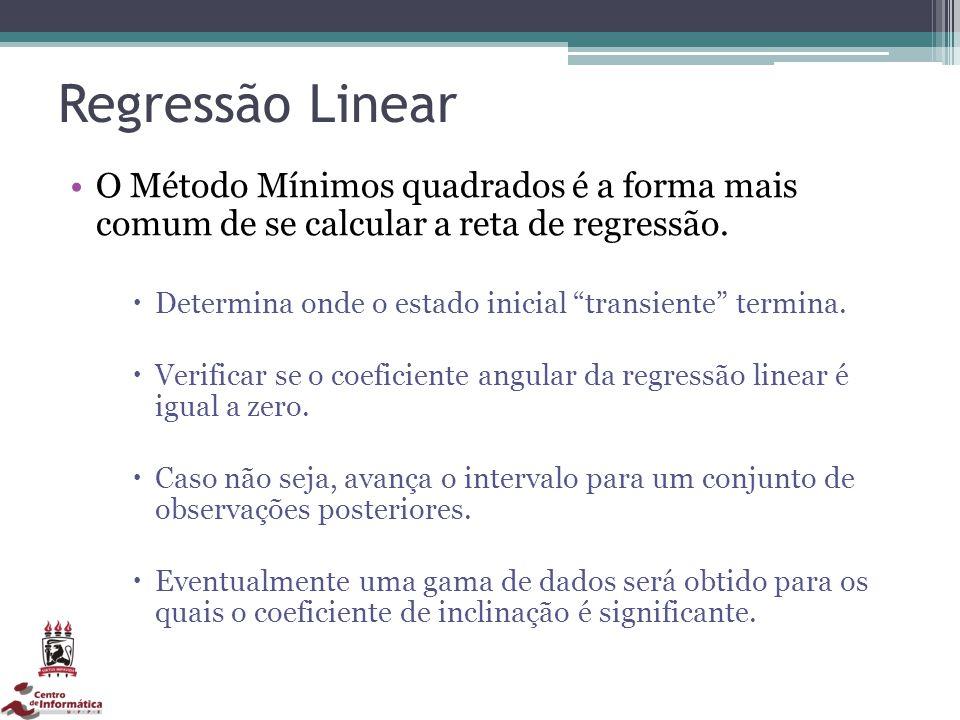 Regressão Linear O Método Mínimos quadrados é a forma mais comum de se calcular a reta de regressão. Determina onde o estado inicial transiente termin