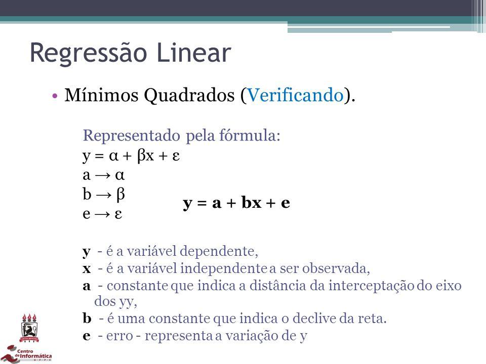 Regressão Linear Mínimos Quadrados (Verificando). Representado pela fórmula: y = α + βx + ε a α b β e ε y - é a variável dependente, x - é a variável
