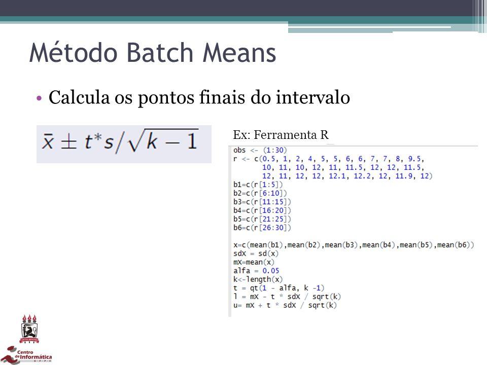 Método Batch Means Calcula os pontos finais do intervalo Ex: Ferramenta R