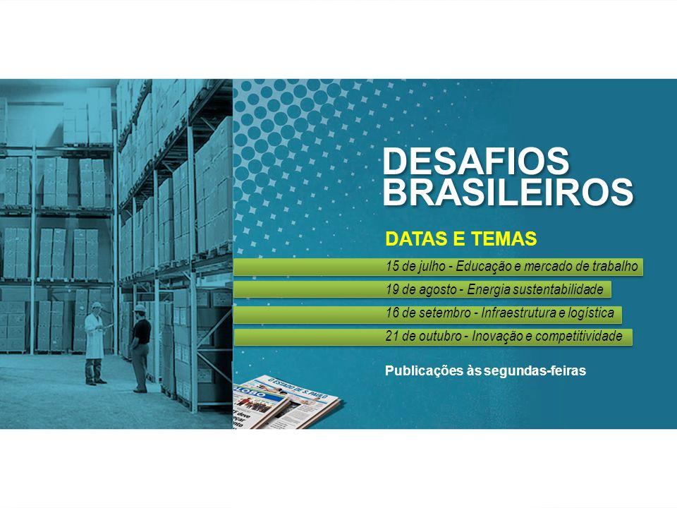 DESAFIOS BRASILEIROS DESAFIOS BRASILEIROS DATAS E TEMAS 15 de julho - Educação e mercado de trabalho 19 de agosto - Energia sustentabilidade 16 de setembro - Infraestrutura e logística 21 de outubro - Inovação e competitividade Publicações às segundas-feiras