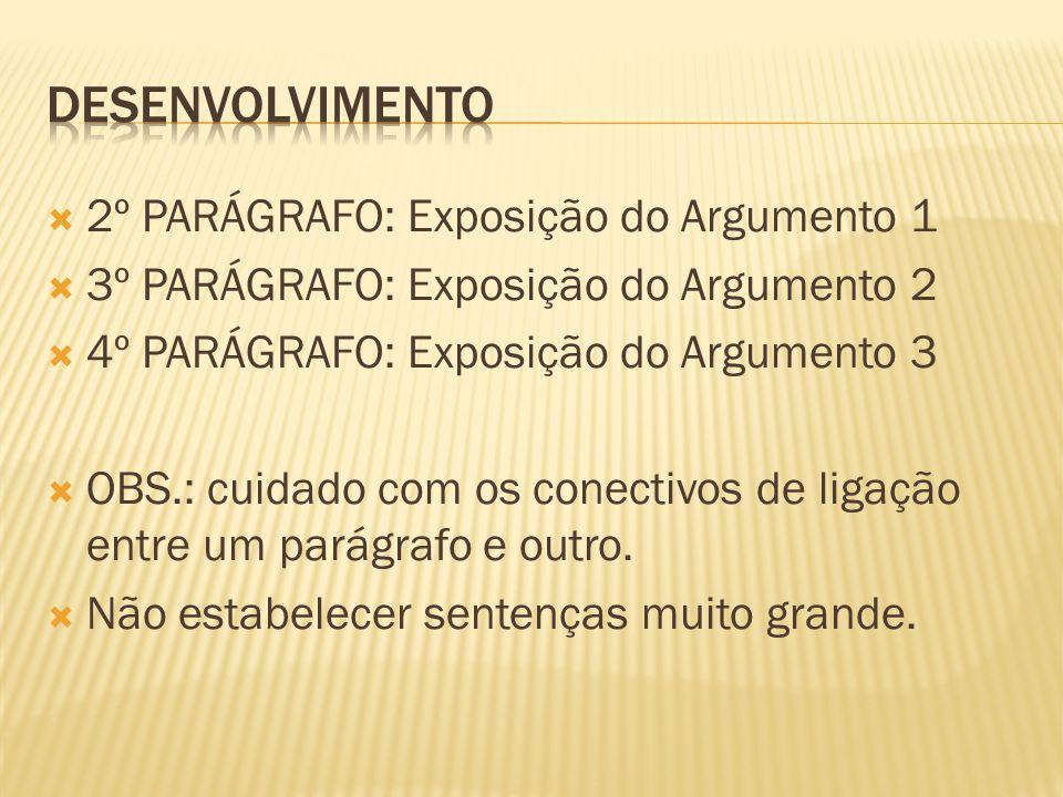 2º PARÁGRAFO: Exposição do Argumento 1 3º PARÁGRAFO: Exposição do Argumento 2 4º PARÁGRAFO: Exposição do Argumento 3 OBS.: cuidado com os conectivos d