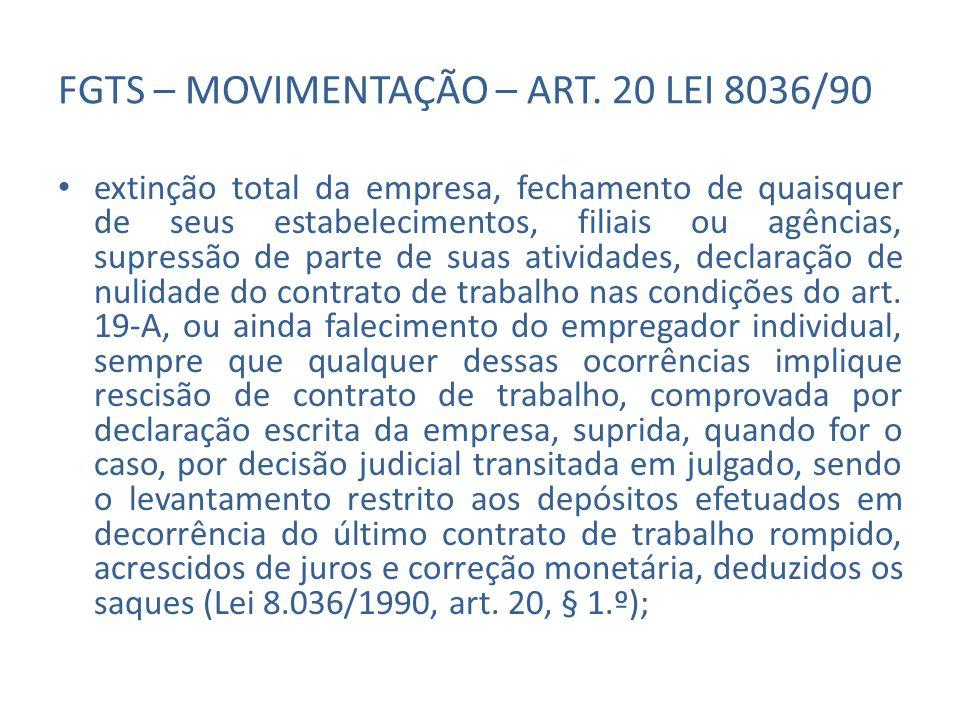 FGTS – MOVIMENTAÇÃO – ART. 20 LEI 8036/90 extinção total da empresa, fechamento de quaisquer de seus estabelecimentos, filiais ou agências, supressão