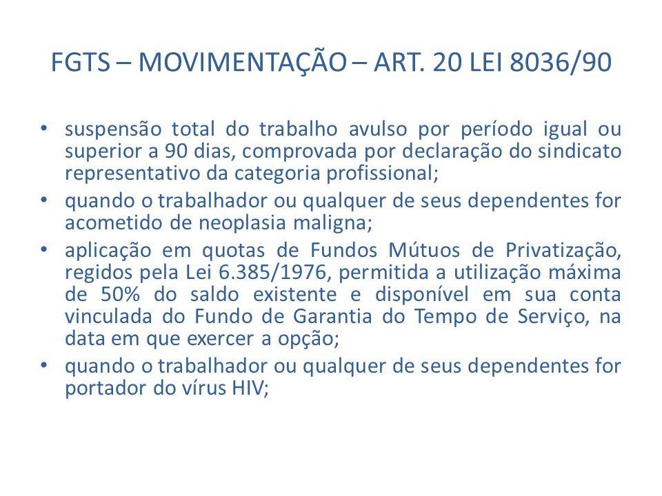 FGTS – MOVIMENTAÇÃO – ART. 20 LEI 8036/90 suspensão total do trabalho avulso por período igual ou superior a 90 dias, comprovada por declaração do sin