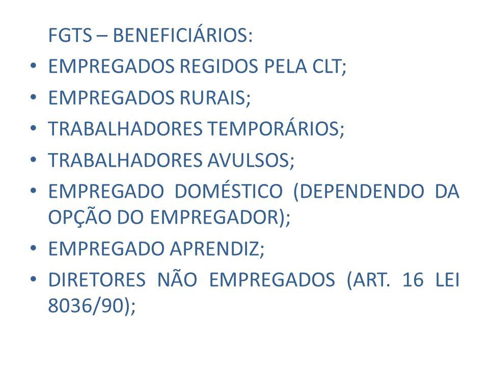 FGTS – TRABALHADORES FORA DO REGIME: TRABALHADOR AUTÔNOMO; TRABALHADOR EVENTUAL; SERVIDOR PÚBLICO; MILITAR; ESTAGIÁRIO;