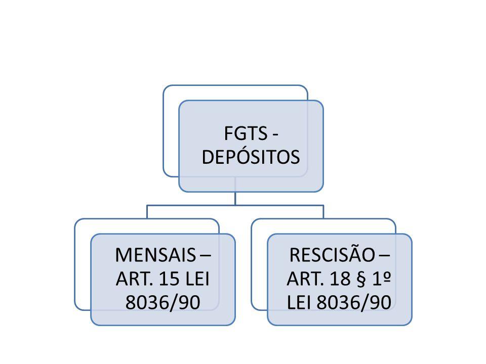 FGTS - DEPÓSITOS MENSAIS – ART. 15 LEI 8036/90 RESCISÃO – ART. 18 § 1º LEI 8036/90